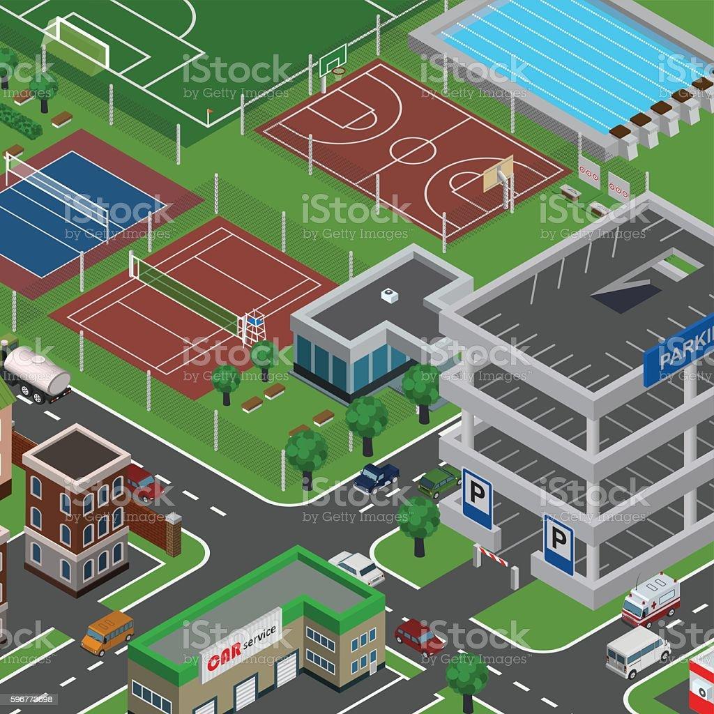 Isometric vector city vector art illustration