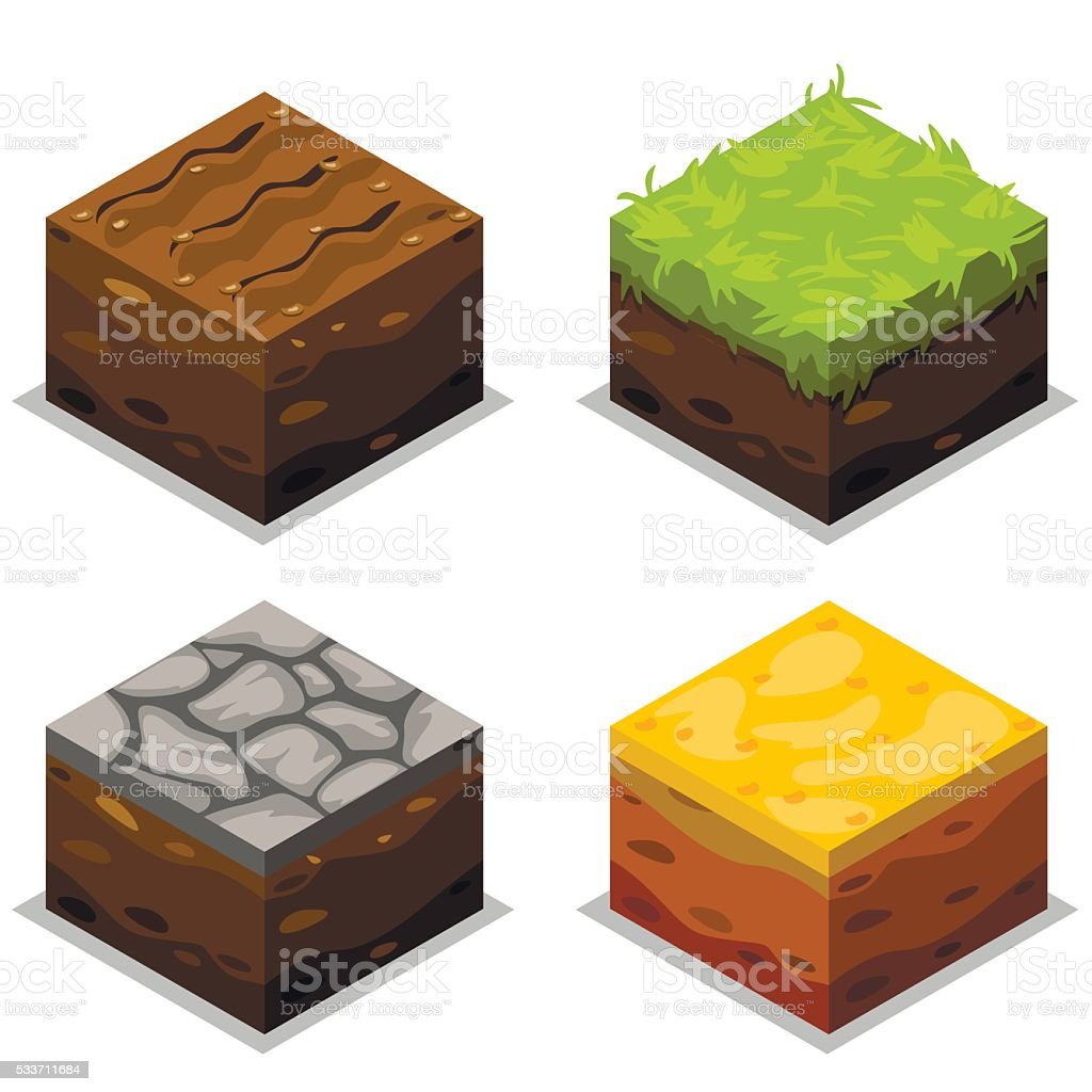 Isometric Vector Elements For Landscape Design vector art illustration