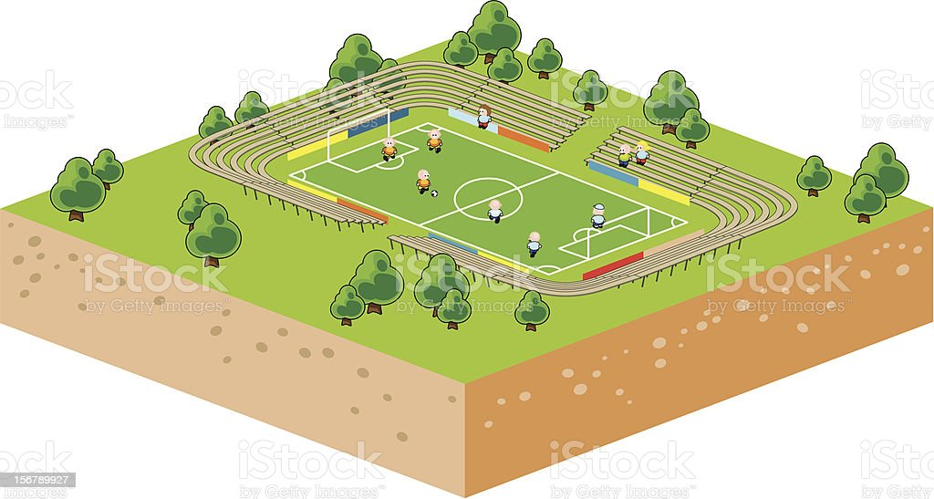 Isometric vector illustration of a soccer field royalty-free stock vector art