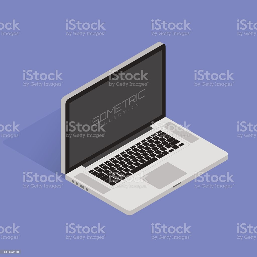 Isometric Vector illustration of laptop on white background with shadow vector art illustration