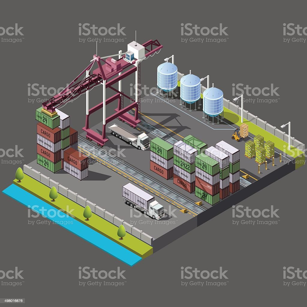 Isometric vector set with construction crane for loading vector art illustration