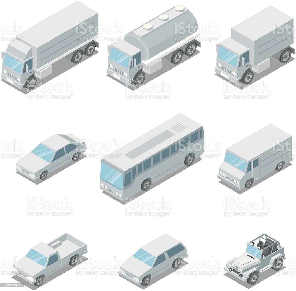 Isometric, vehicles vector art illustration