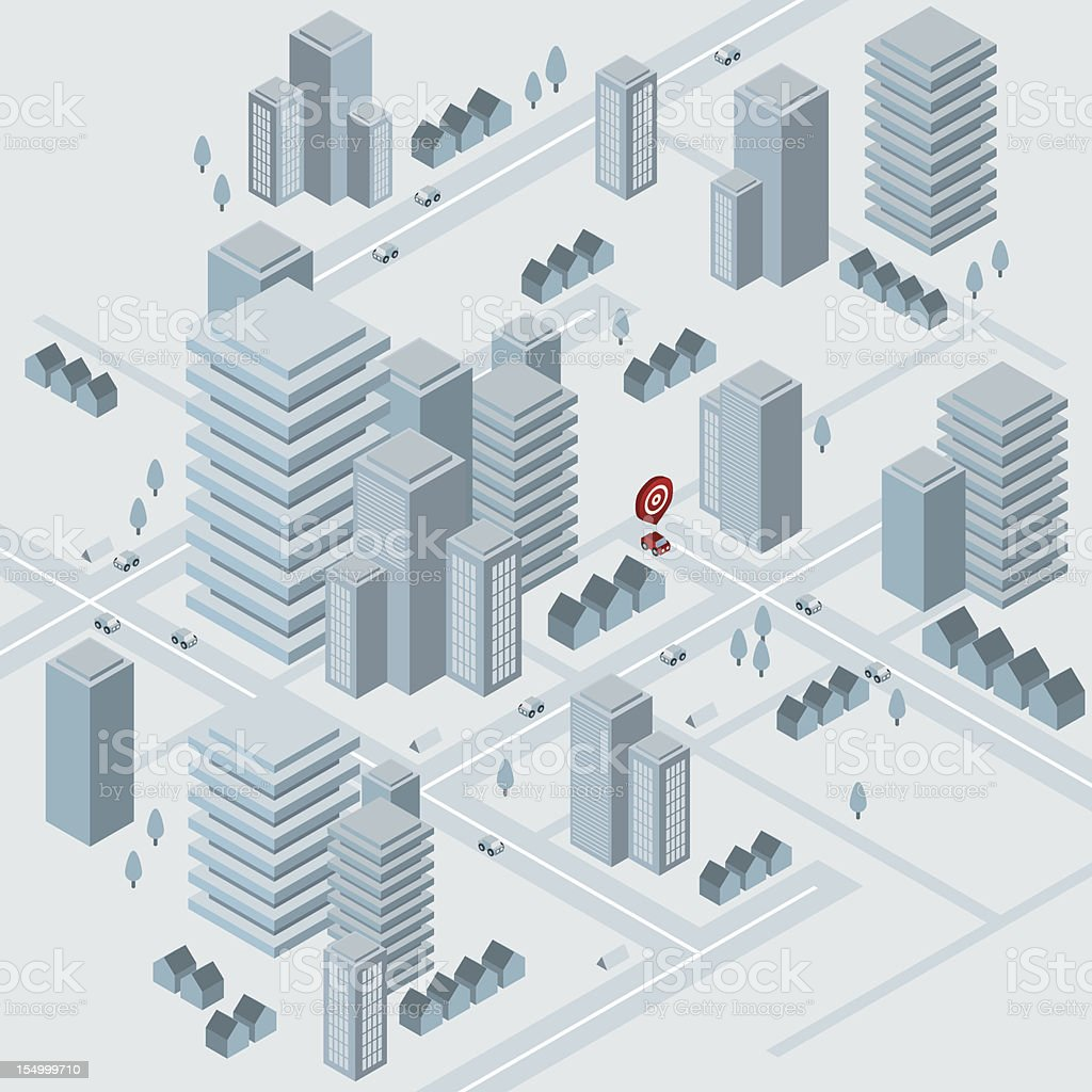 Isometric virtual city vector art illustration