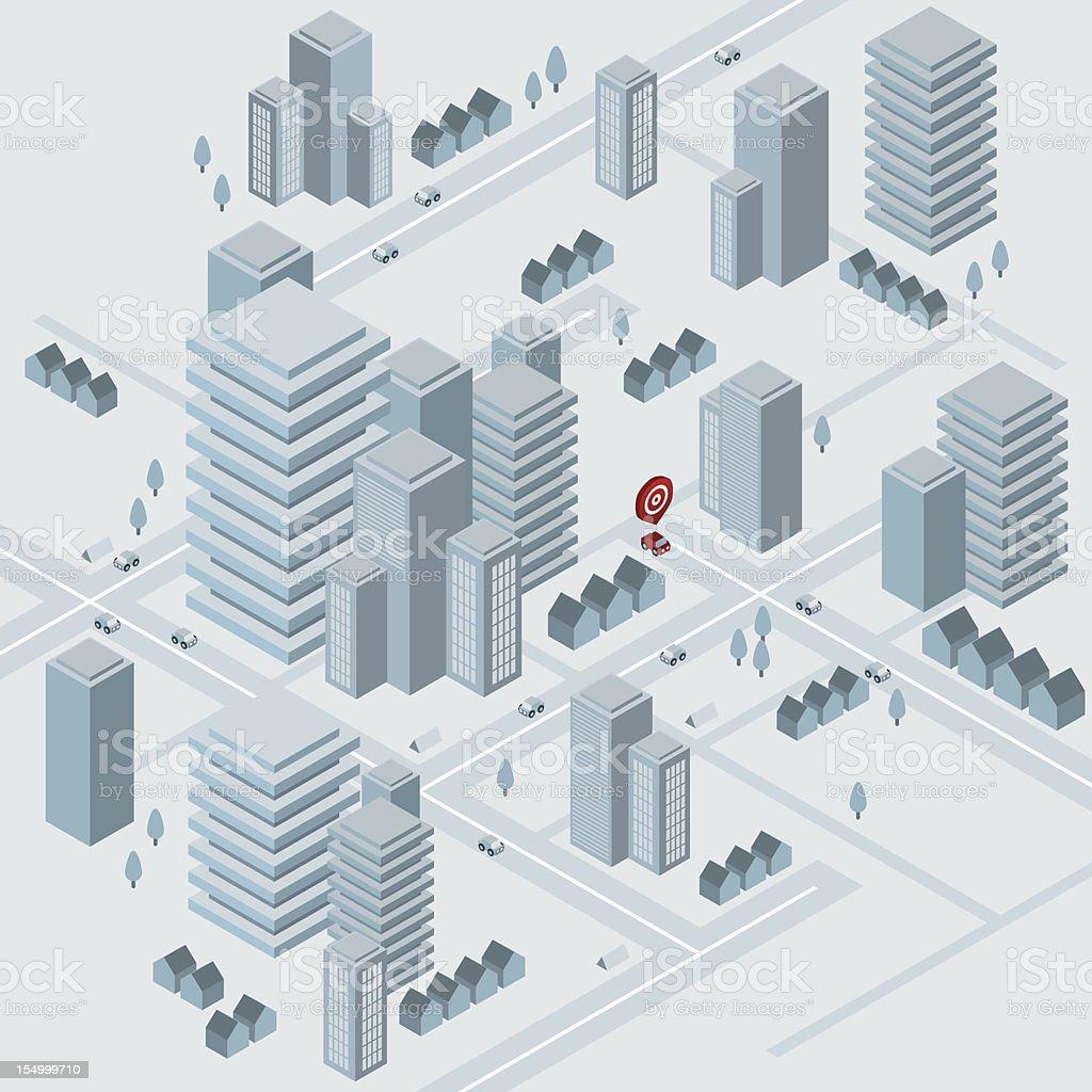 Isometric virtual city vector art illustration