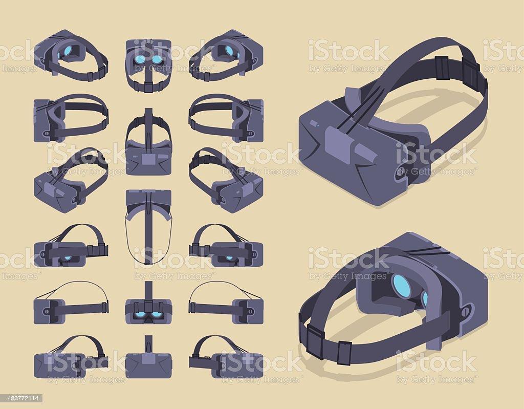 Isometric virtual reality headset vector art illustration