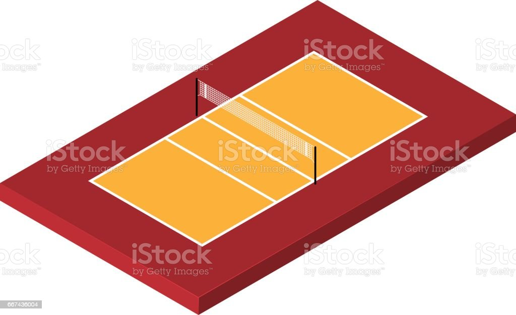Isometric Volleyball court vector art illustration