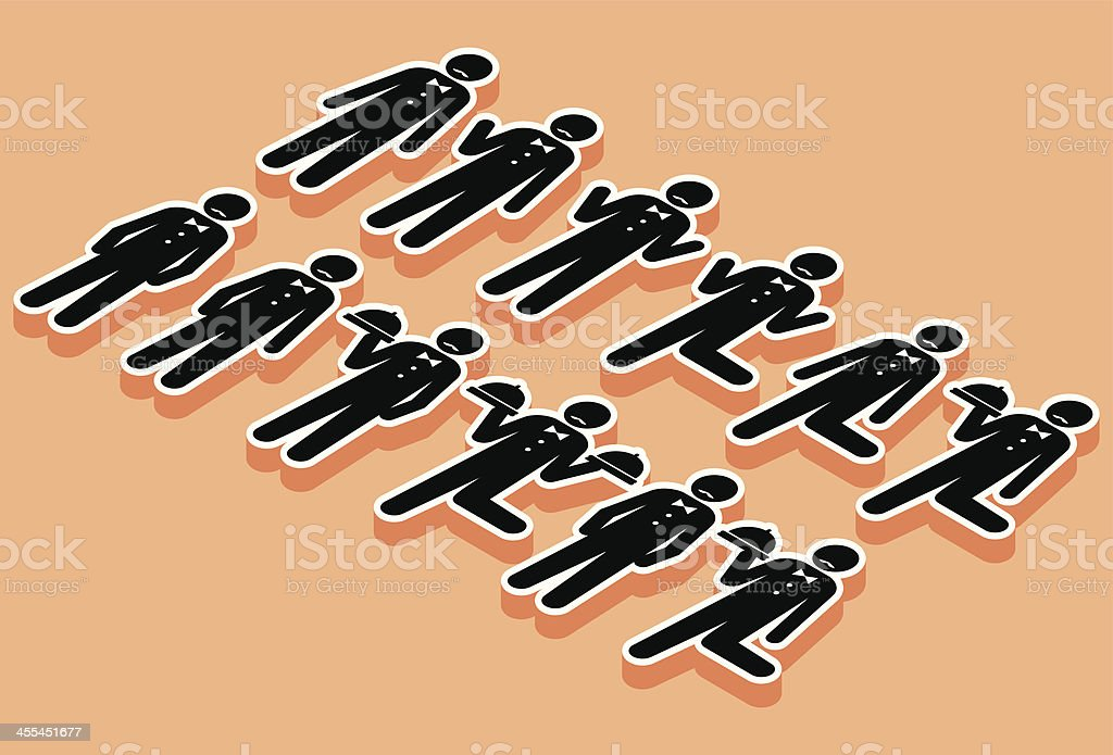 Isometric Waiters stick man royalty-free stock vector art