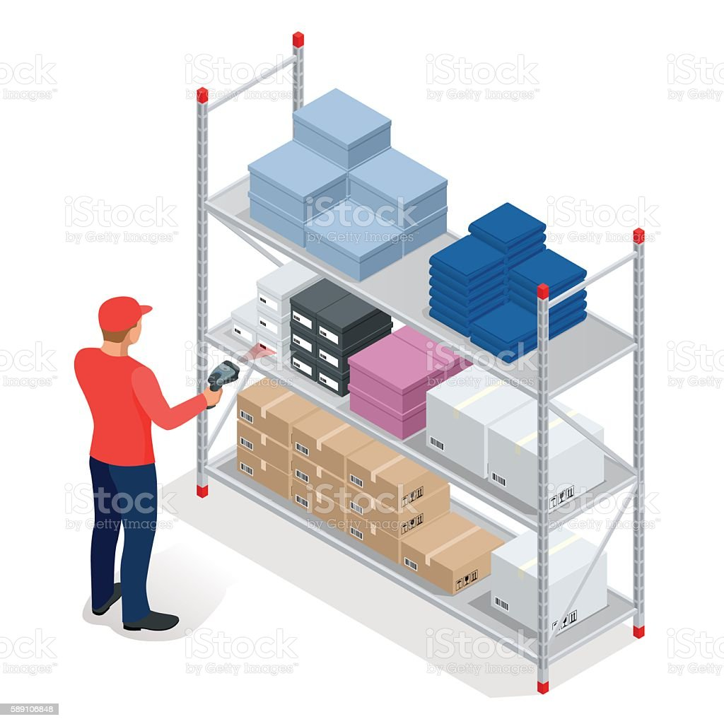 Isometric Warehouse manager or worker with bar code scanner checking vector art illustration