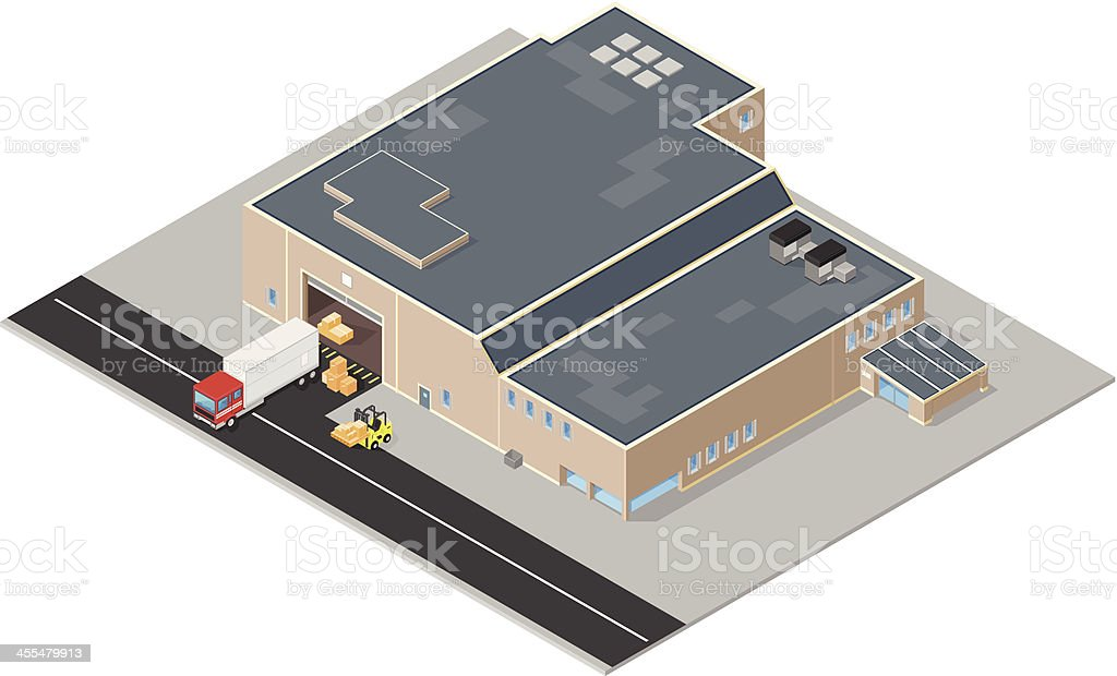 Isometric Warehouse with Delivery Truck vector art illustration
