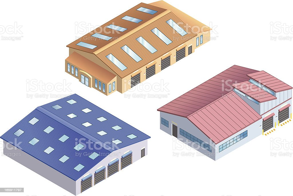 Isometric Warehouses royalty-free stock vector art