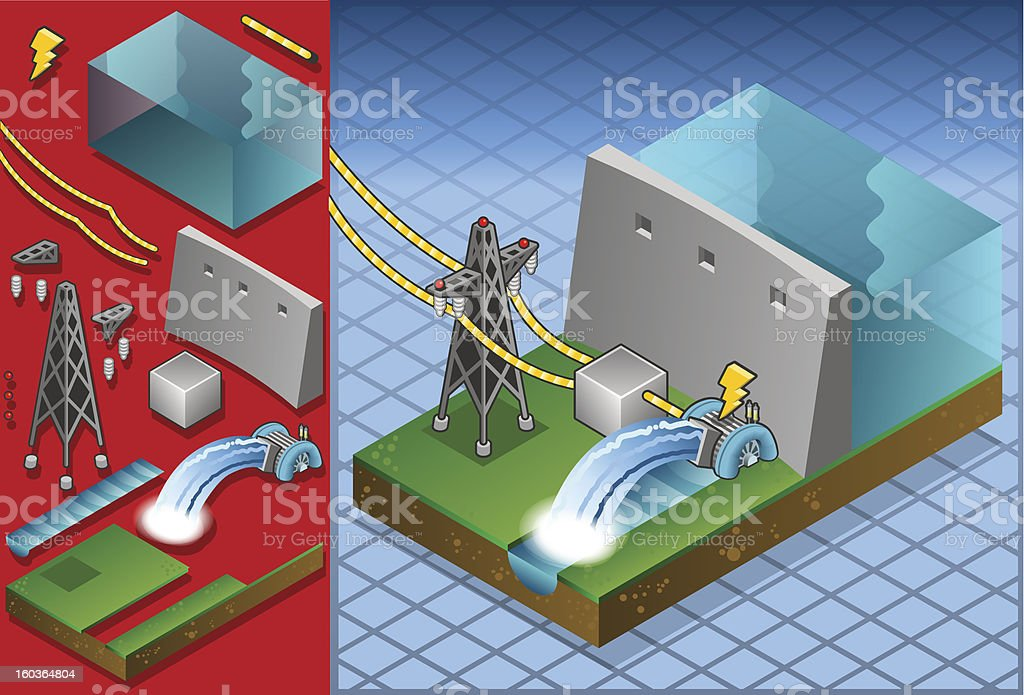 Isometric watermill project for production of energy royalty-free stock vector art