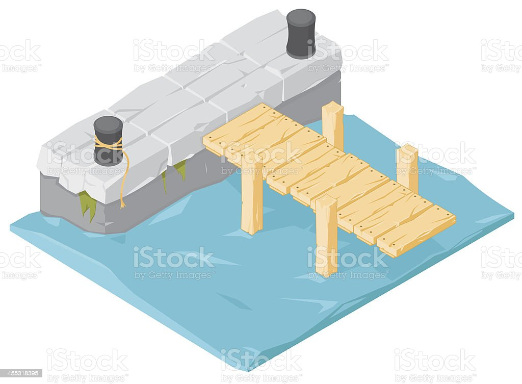 Isometric Wharf and Jetty vector art illustration