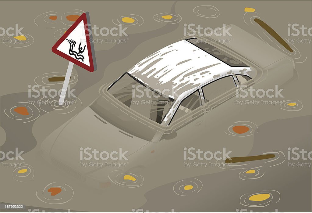 Isometric White Car Flooded in front view vector art illustration