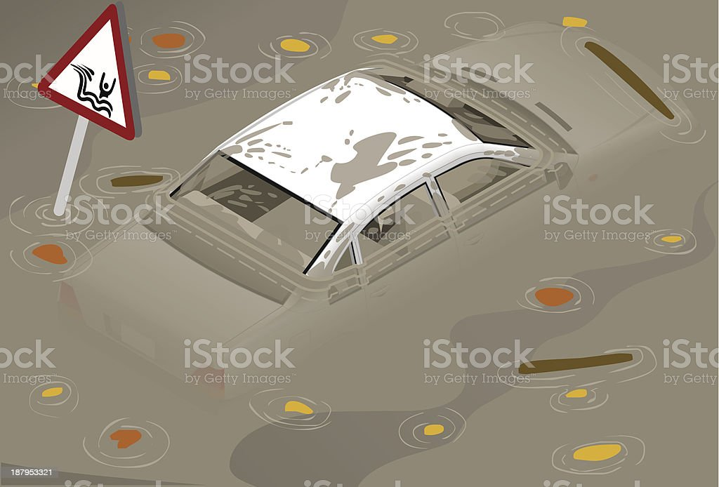 Isometric White Car Flooded in rear view royalty-free stock vector art