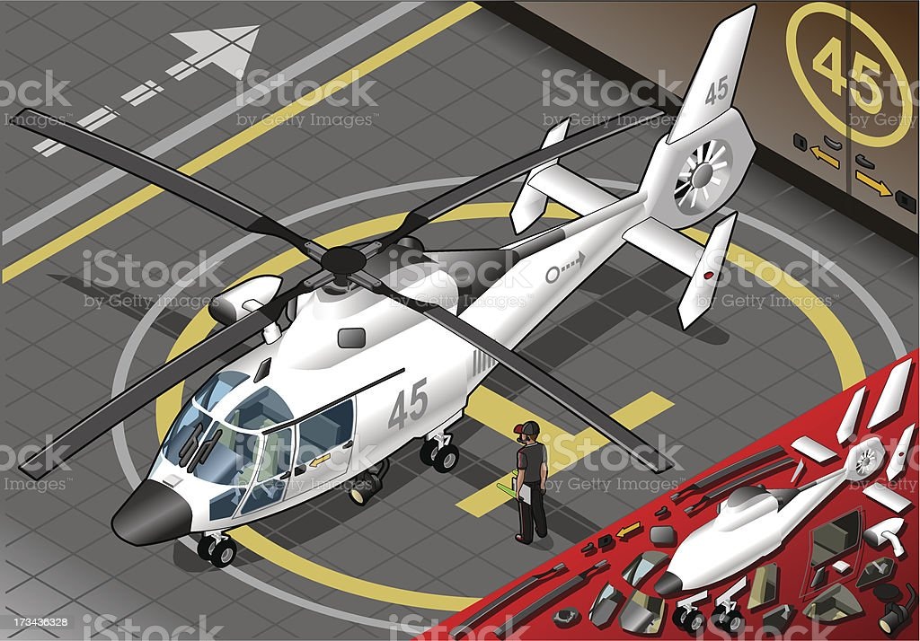 Isometric White Helicopter Landed in Front View vector art illustration