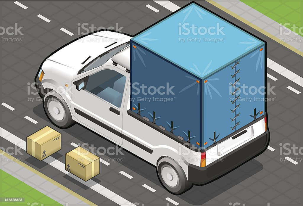 Isometric White Pickup Van with Tarpaulin in Rear View royalty-free stock vector art