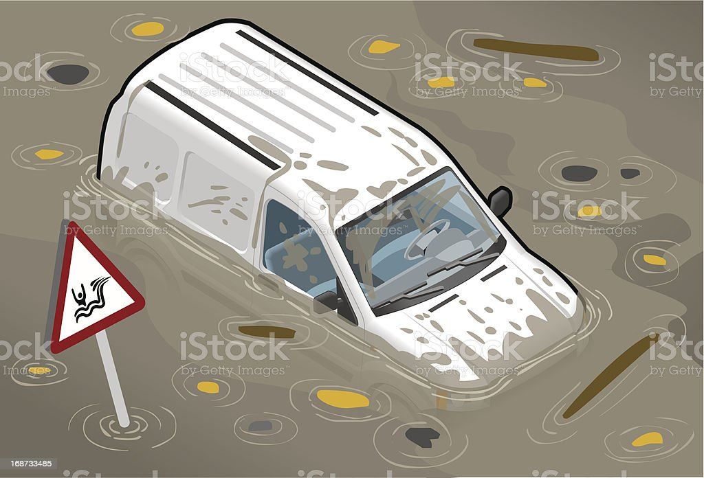 Isometric White Van Flooded in Front View royalty-free stock vector art