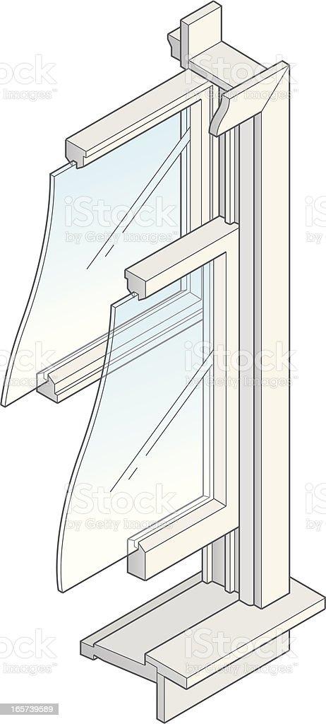Isometric Window Cross Section royalty-free stock vector art