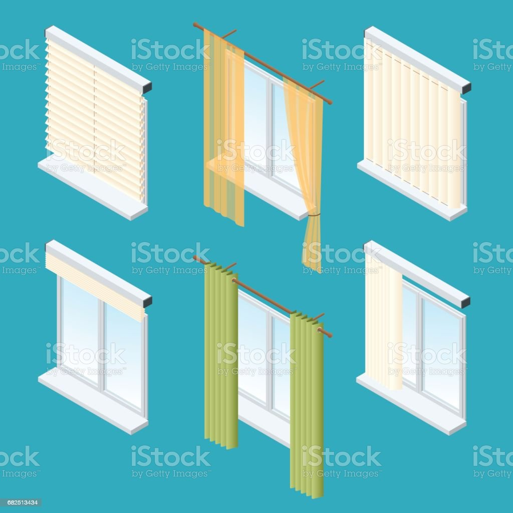 Isometric windows, curtains, drapery, shades, blinds. Vector collection of various window treatments vector art illustration