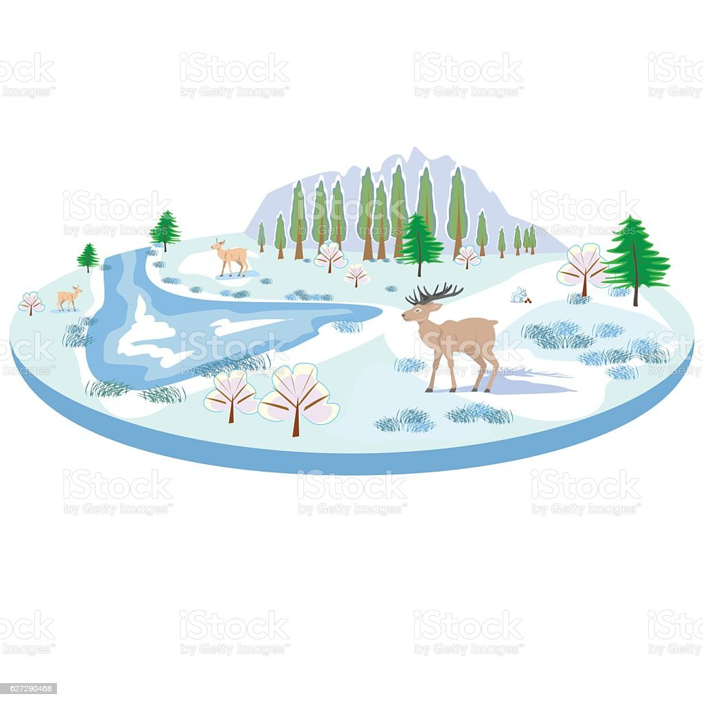 Isometric winter landscape with deer, trees, river royalty-free stock vector art