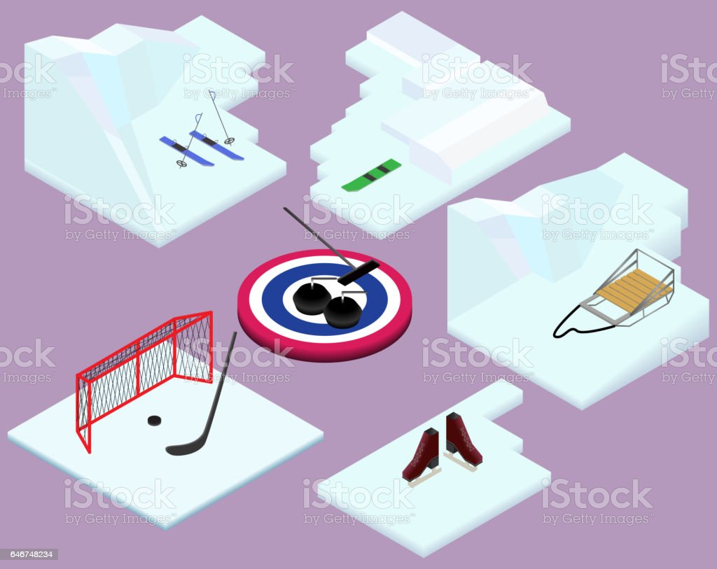 Isometric winter sports elements ski, snowboard, sled, hockey,...