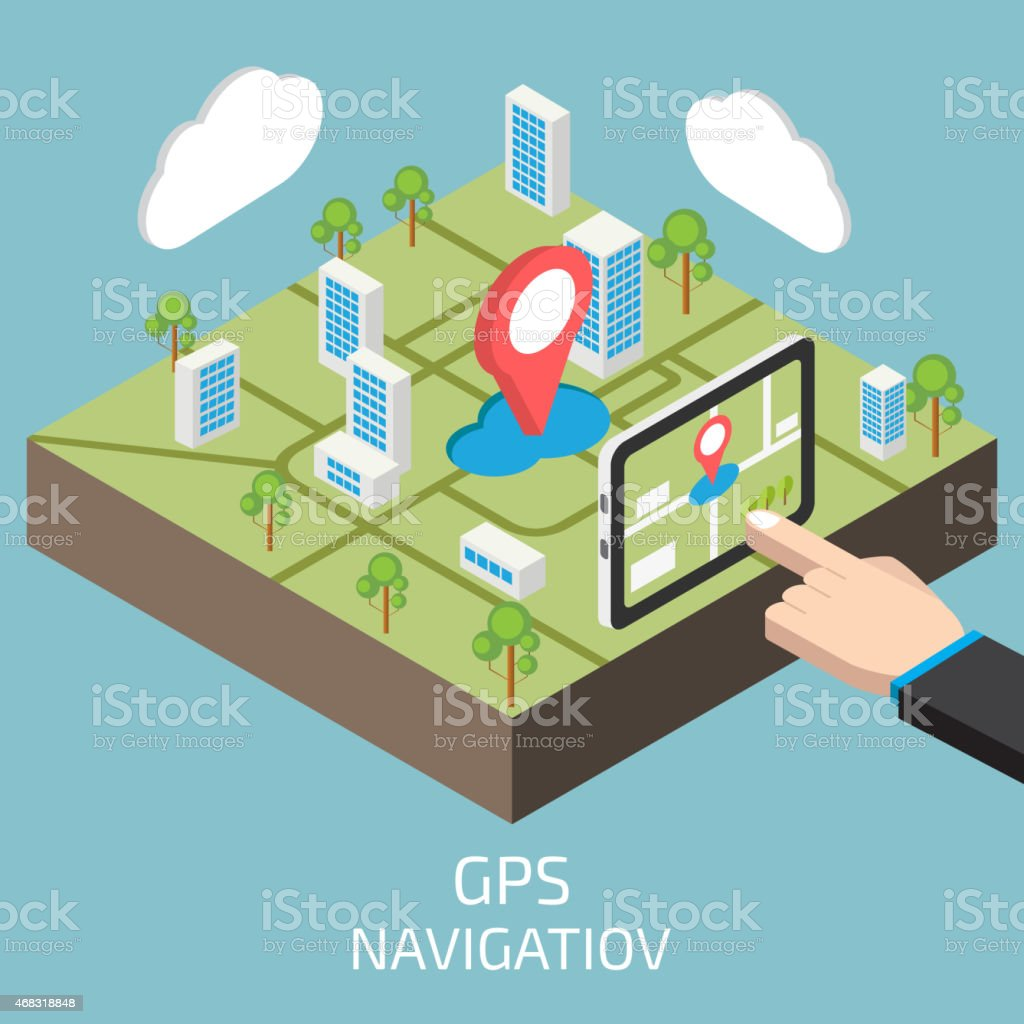 GPS isometric with hand and tablet vector art illustration