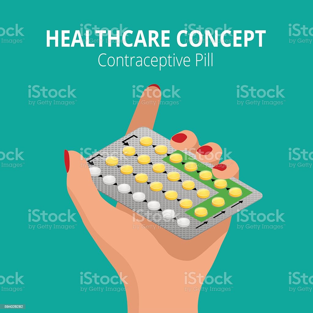 Isometric Woman holding blister pack of Strip  28 Contraceptive Pill vector art illustration