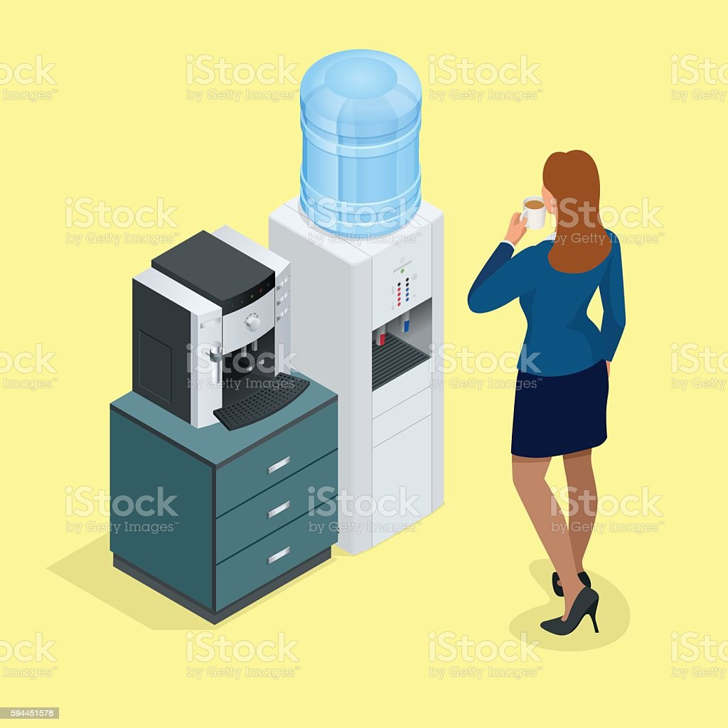 Isometric Woman with coffee cup, Water cooler vector art illustration