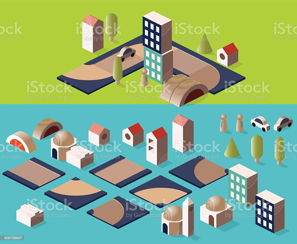 isometric wooden map stock photo
