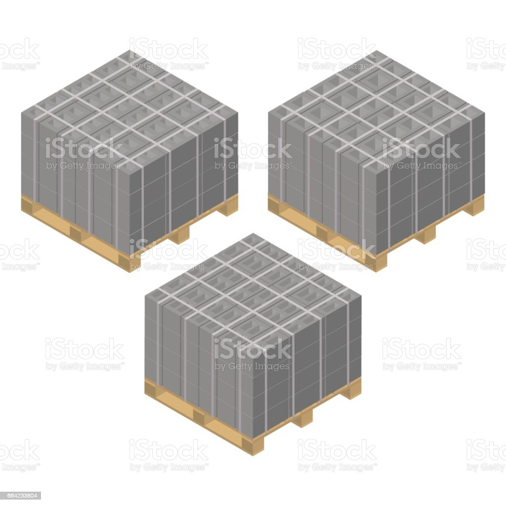 Isometric wooden pallet with cinder blocks, vector illustration. vector art illustration