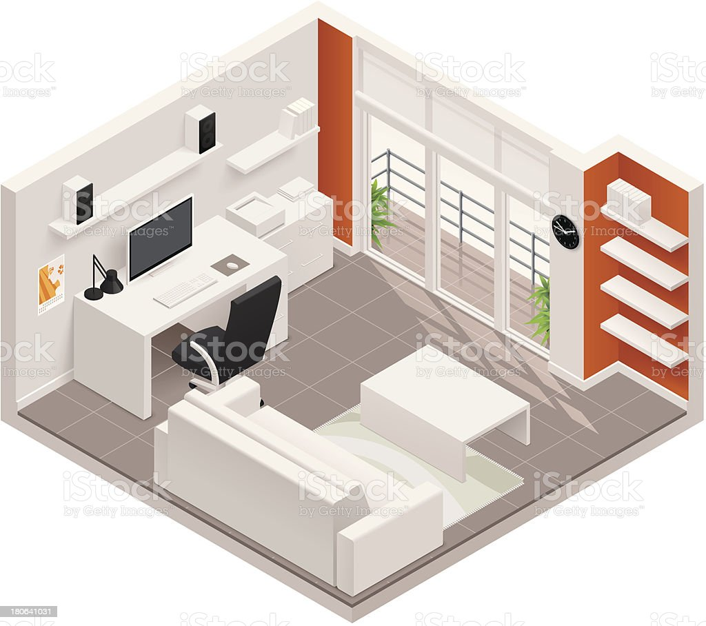 Isometric working room icon vector art illustration