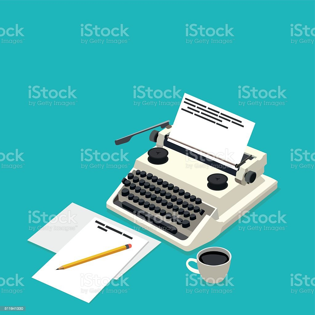 isometric workplace writer vector art illustration