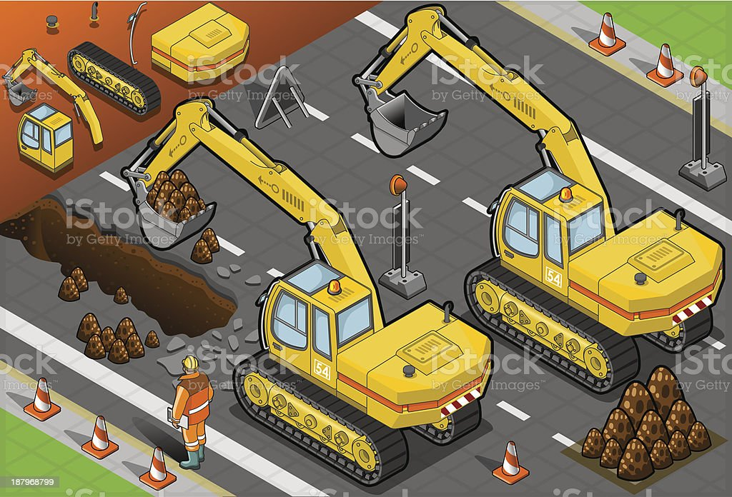 Isometric Yellow Excavator in Rear View royalty-free stock vector art