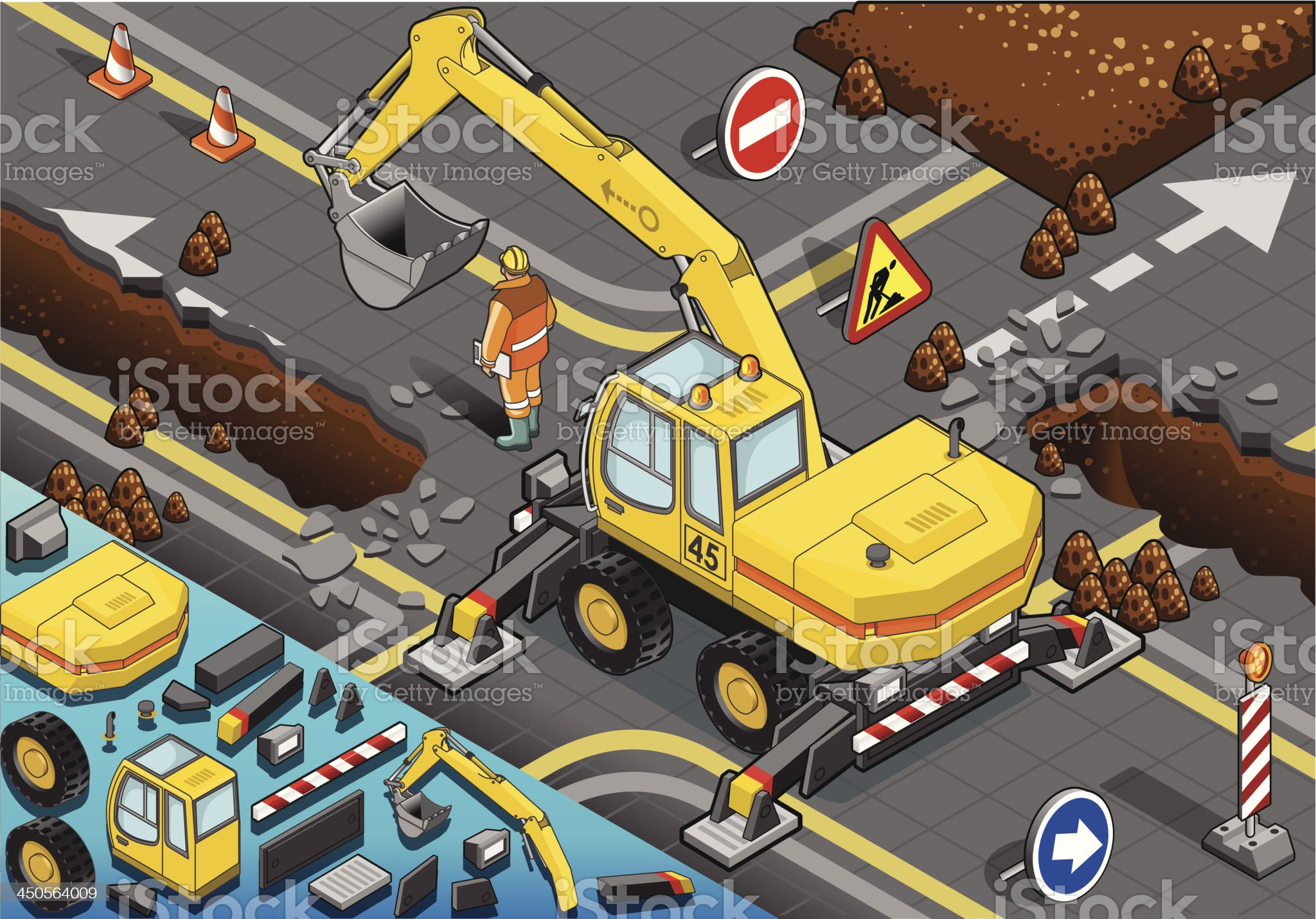 Isometric Yellow Excavator with Four Arms in Rear View royalty-free stock vector art