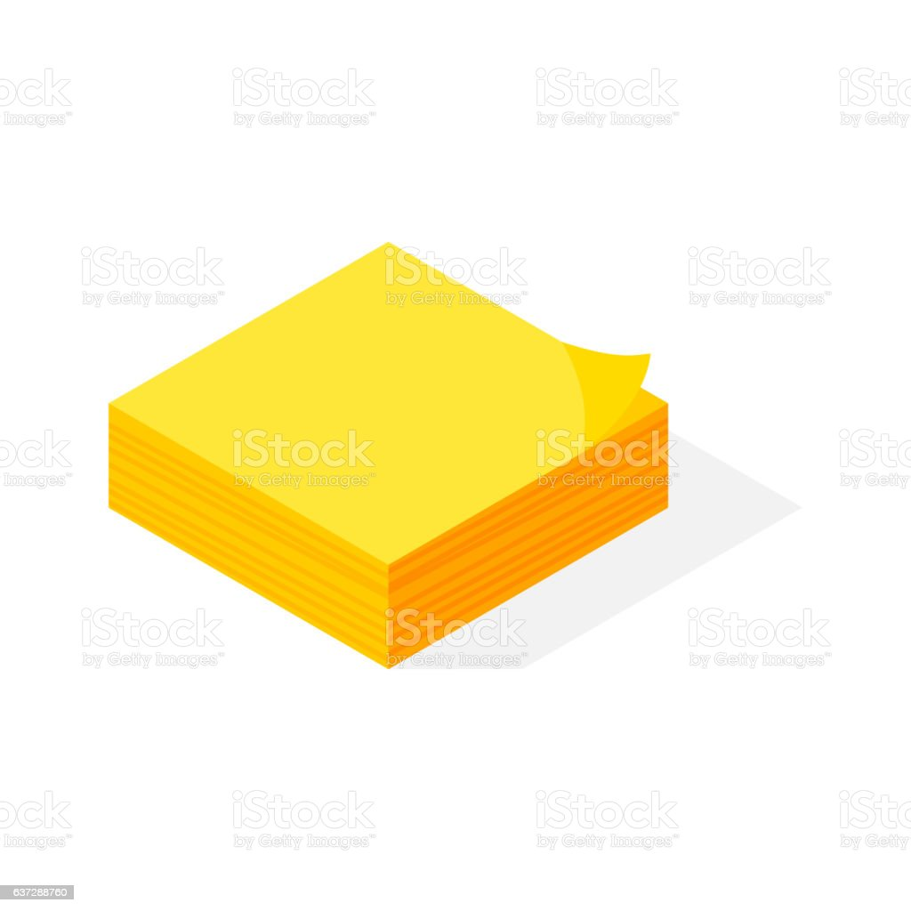 Isometric yellow sticker paper note vector. vector art illustration
