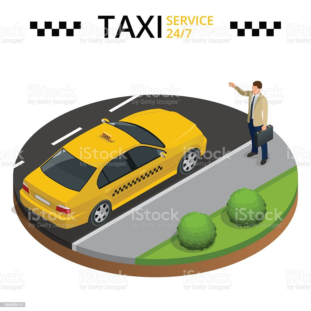 Isometric Young man raising her arm to call a taxi vector art illustration