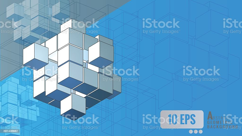 Isometric_geometric_cube_movement_on_blue_background vector art illustration
