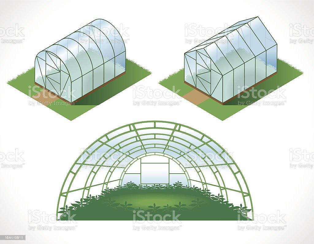 isometry greenhouses vector art illustration