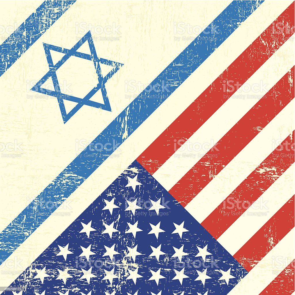 Israel and american grunge flag vector art illustration