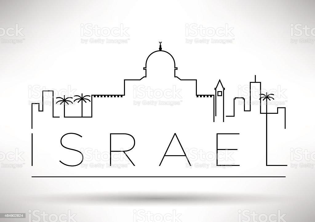 Israel City Line Silhouette Typographic Design vector art illustration