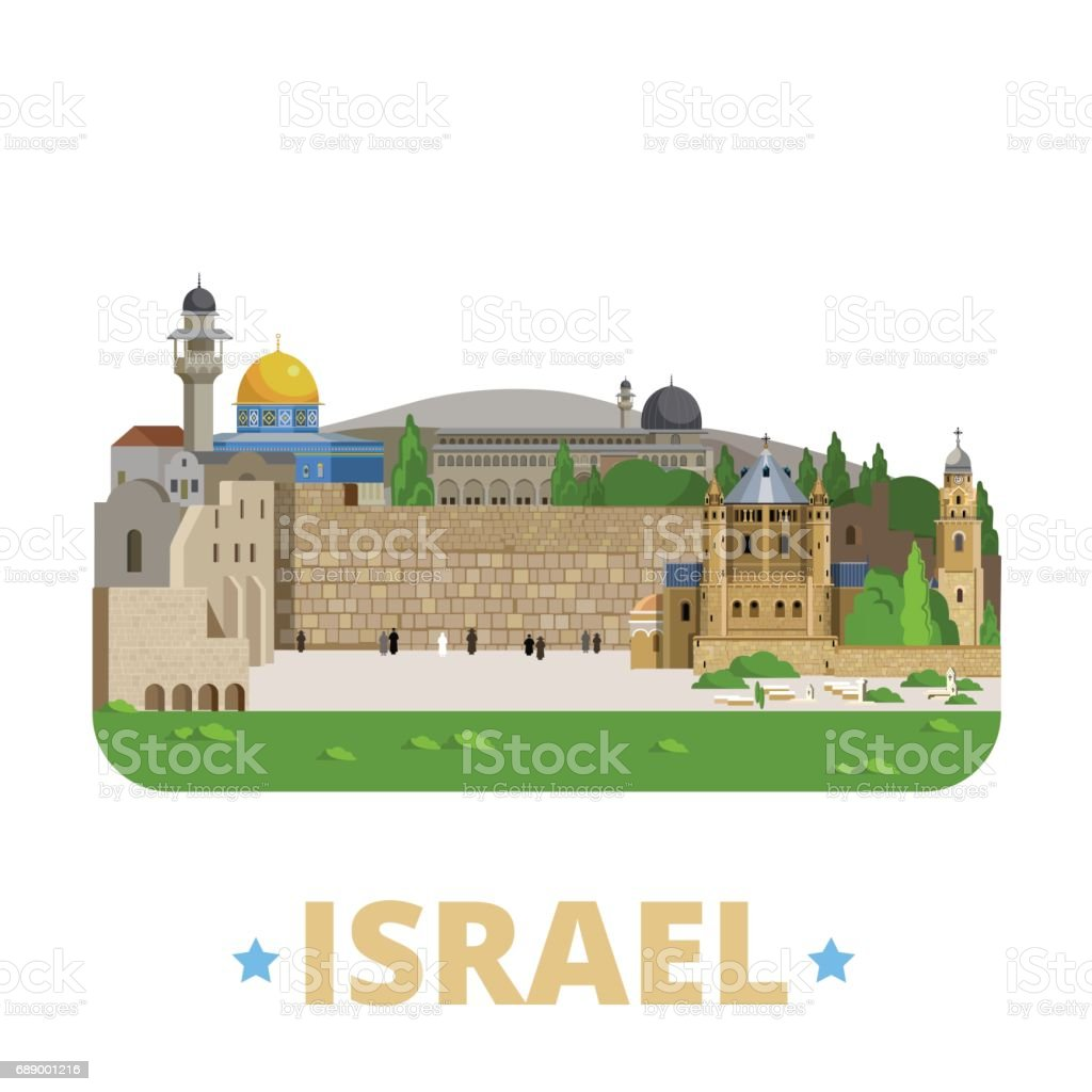 Israel country design template. Flat cartoon style historic showplace web site vector illustration. World travel sightseeing Asia Asian collection. Jerusalem Old City Zion Al-Aqsa Mosque Wall of Tears vector art illustration