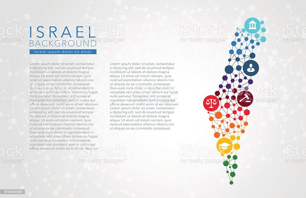 Israel dotted vector background vector art illustration