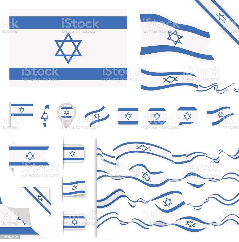 Israel Flag Set vector art illustration