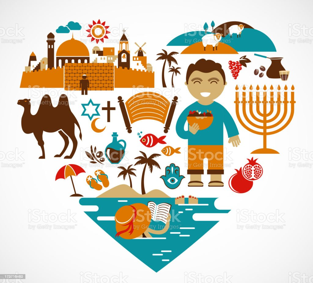 Israel - heart with set of vector illustrations royalty-free stock vector art