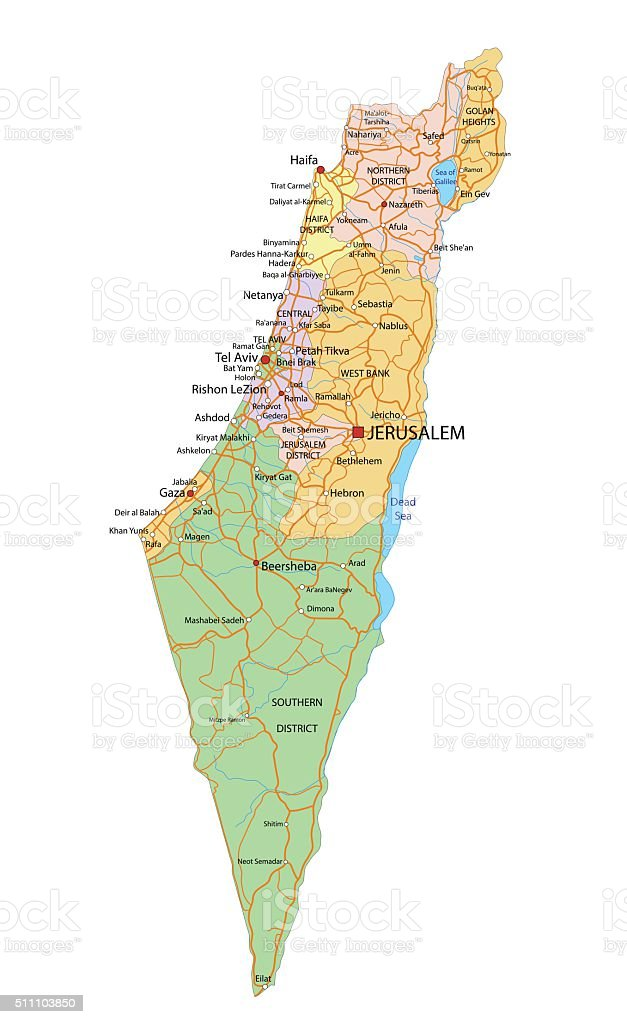 Israel - Highly detailed, editable political map with labeling. vector art illustration