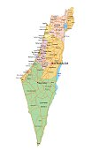 Israel - Highly detailed, editable political map with labeling.