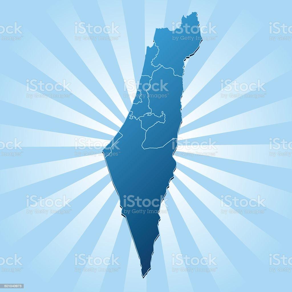 Israel map blue rays vector art illustration