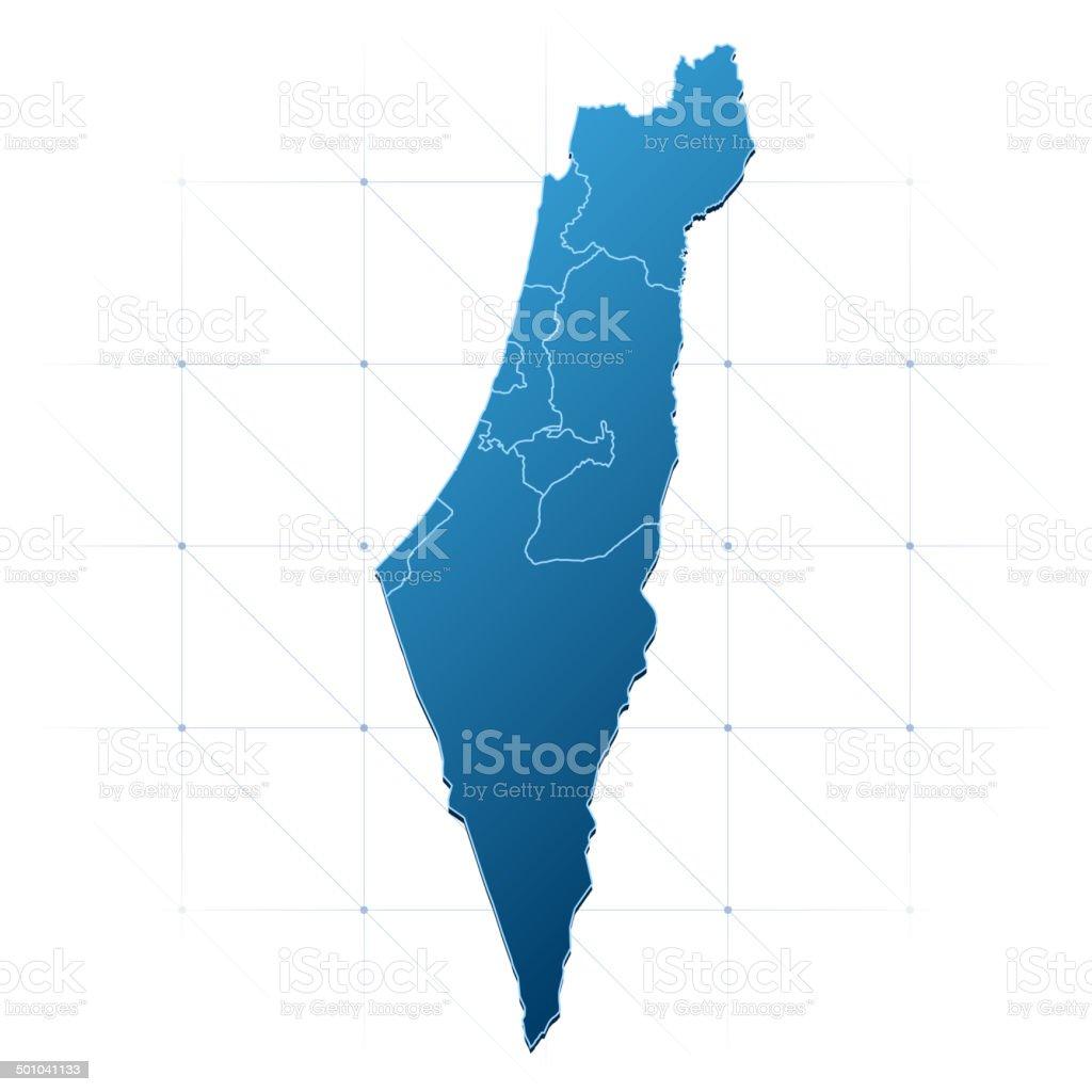Israel map blue vector art illustration