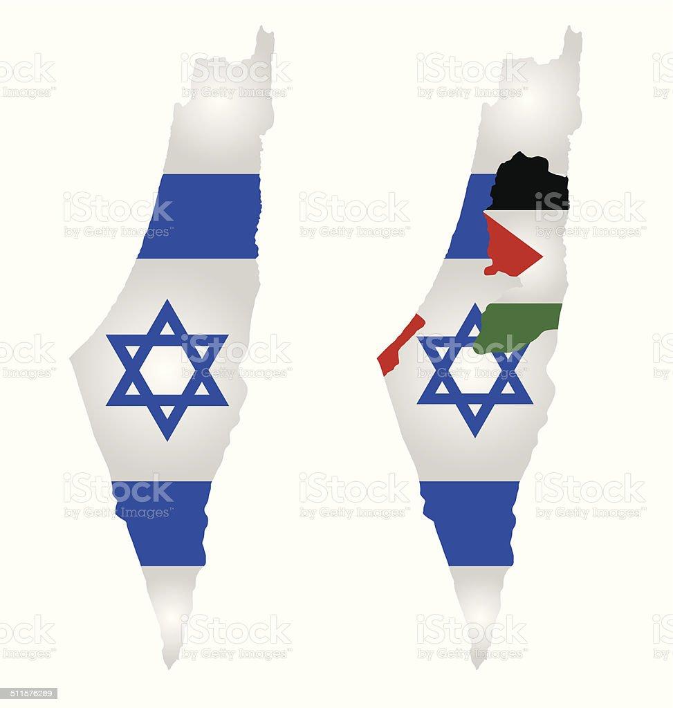 Israel Map Flag vector art illustration
