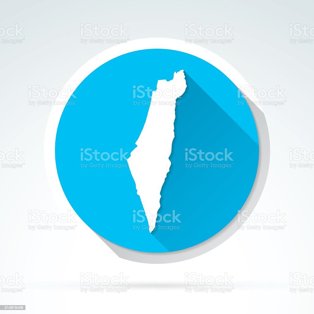 Israel map icon, Flat Design, Long Shadow vector art illustration